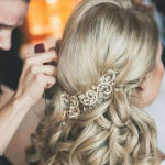 bridal hairstyle for long curly hair with jewellery