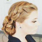 bridal hairstyle low bun with braids