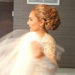 bridal hairstyle chignon with curls romantic