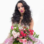 bridal hairstyle soft long curls with floral bouquet