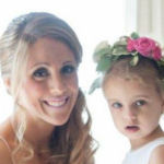 bridal hairstyle side swept with veil and flower girl hairstyle with floral crown