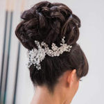 bridal hairstyles updo with crystal hair jewellery