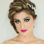 bridal hairstyles half up with crystla hair clip and cathedral veil