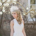 bridal hairstyle long curls with fascinator