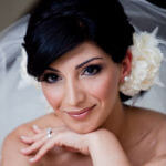 bridal hairstyle chignon with flowers